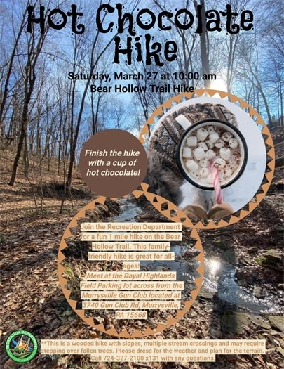Hot Chocolate Hike March 27 Flyer